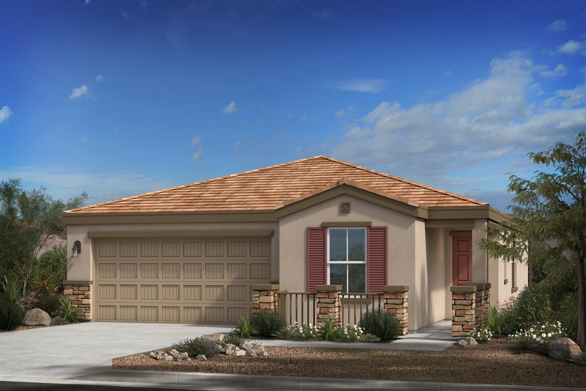 New Homes in Phoenix, AZ - 16th Street Enclave Plan 1547 Elevation C (with Stone)