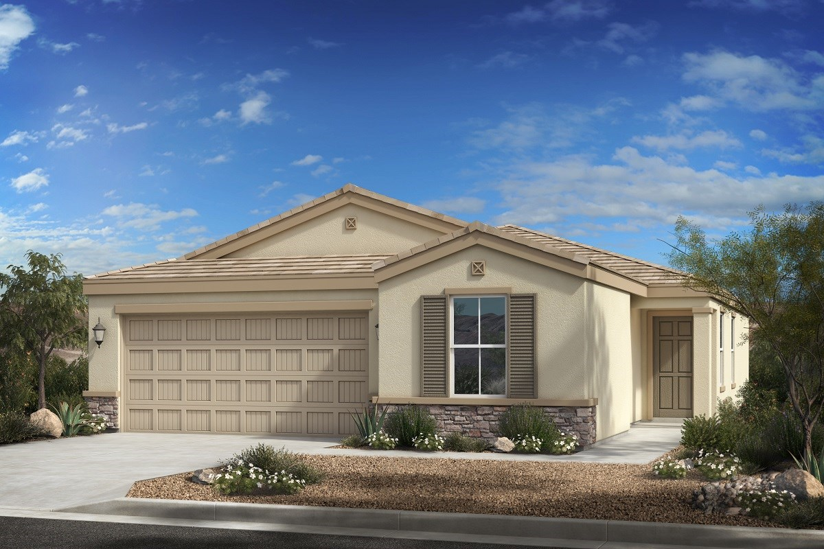 New Homes in Phoenix, AZ - 16th Street Enclave Plan 1439 Elevation C (with Stone)