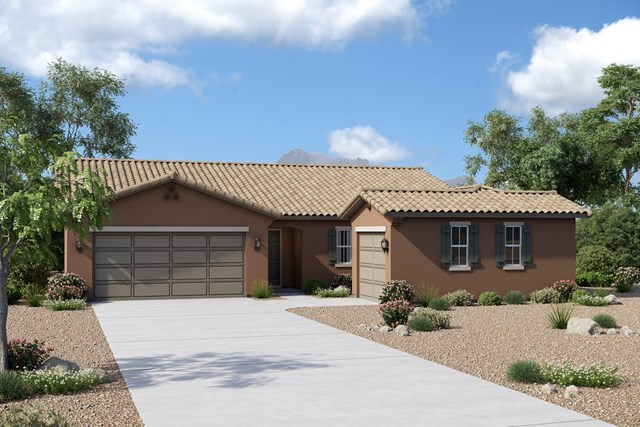 New Homes in Buckeye, AZ - Plan 1860 Elevation A (Option 3rd car garage)