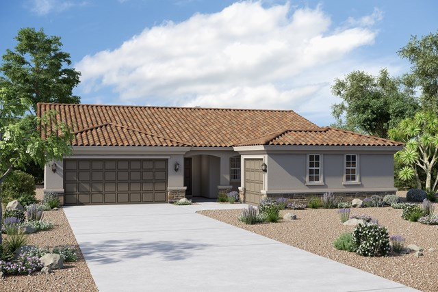 New Homes in Buckeye, AZ - Plan 1860 Elevation B (Option 3rd car garage with stone)