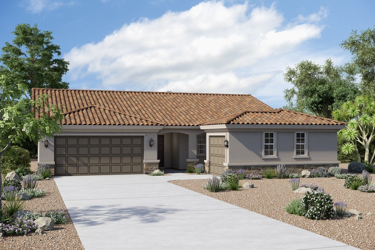 New Homes in Buckeye, AZ - Arroyo Seco Plan 1860 Elevation B (Option 3rd car garage with stone)