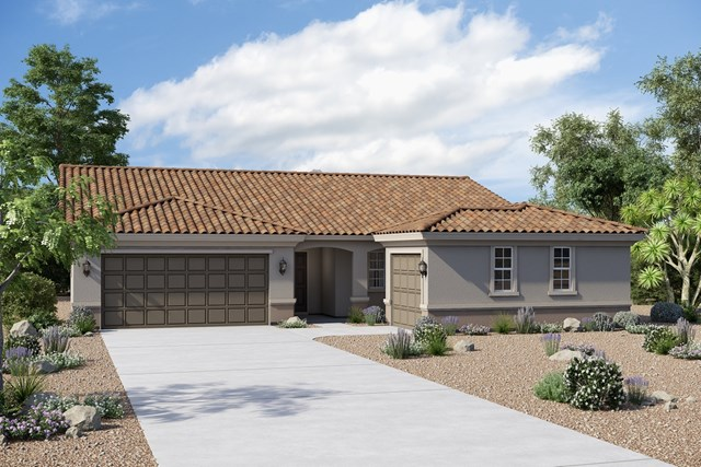 New Homes in Buckeye, AZ - Plan 1860 Elevation B (Option 3rd car garage)