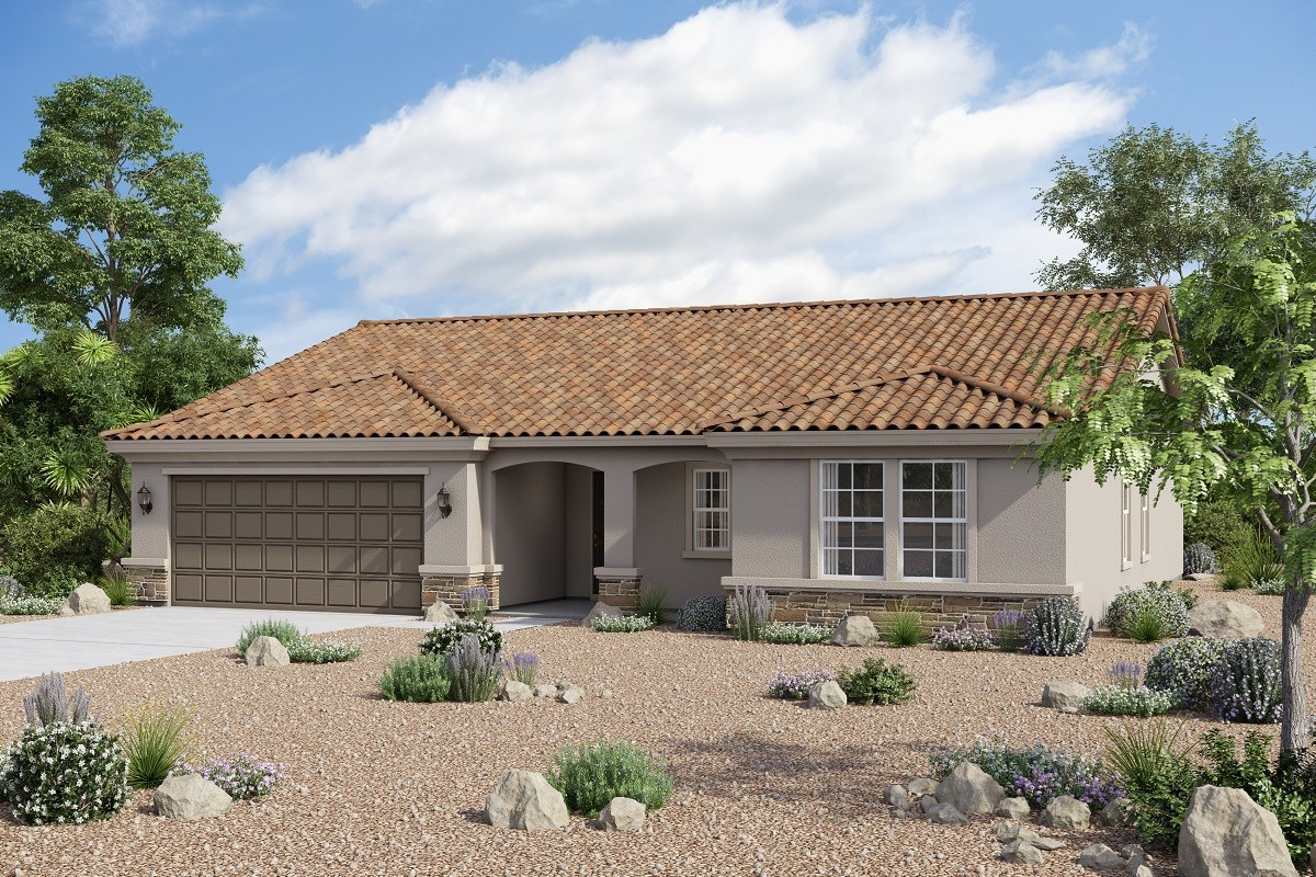 New Homes in Buckeye, AZ - Arroyo Seco Plan 1860 Elevation B (Option stone)
