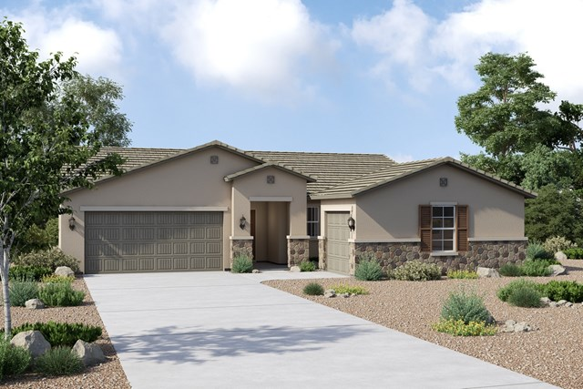 New Homes in Buckeye, AZ - Plan 1860 Elevation C (Option 3rd car garage)