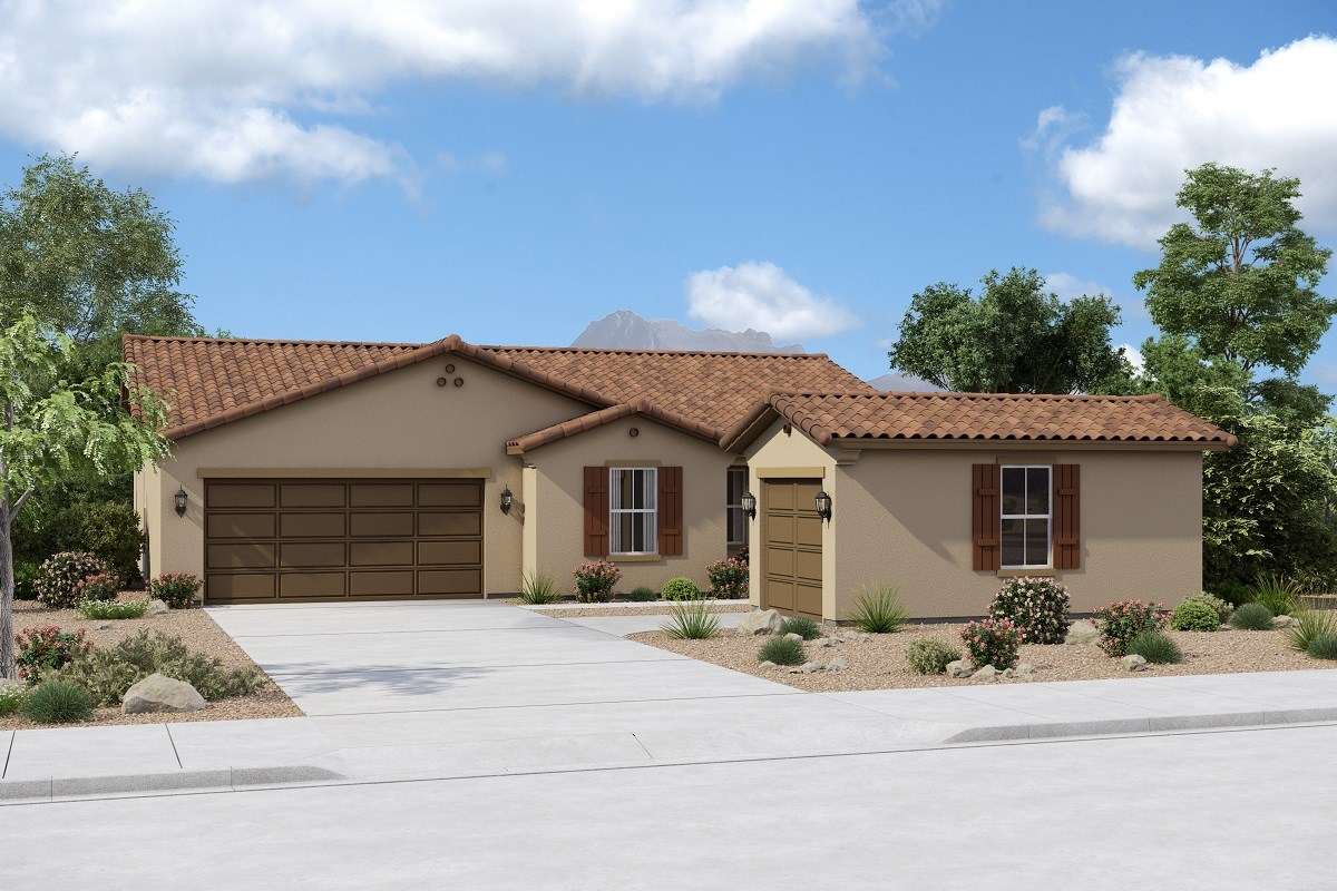 New Homes in Buckeye, AZ - Arroyo Seco Plan 1708 Elevation A (Option 3rd Car Garage)