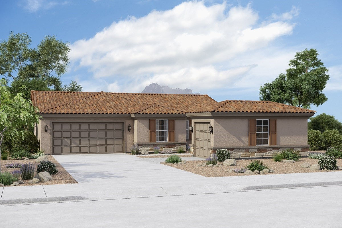 New Homes in Buckeye, AZ - Arroyo Seco Plan 1708 Elevation B (Option 3rd Car Garage with stone)