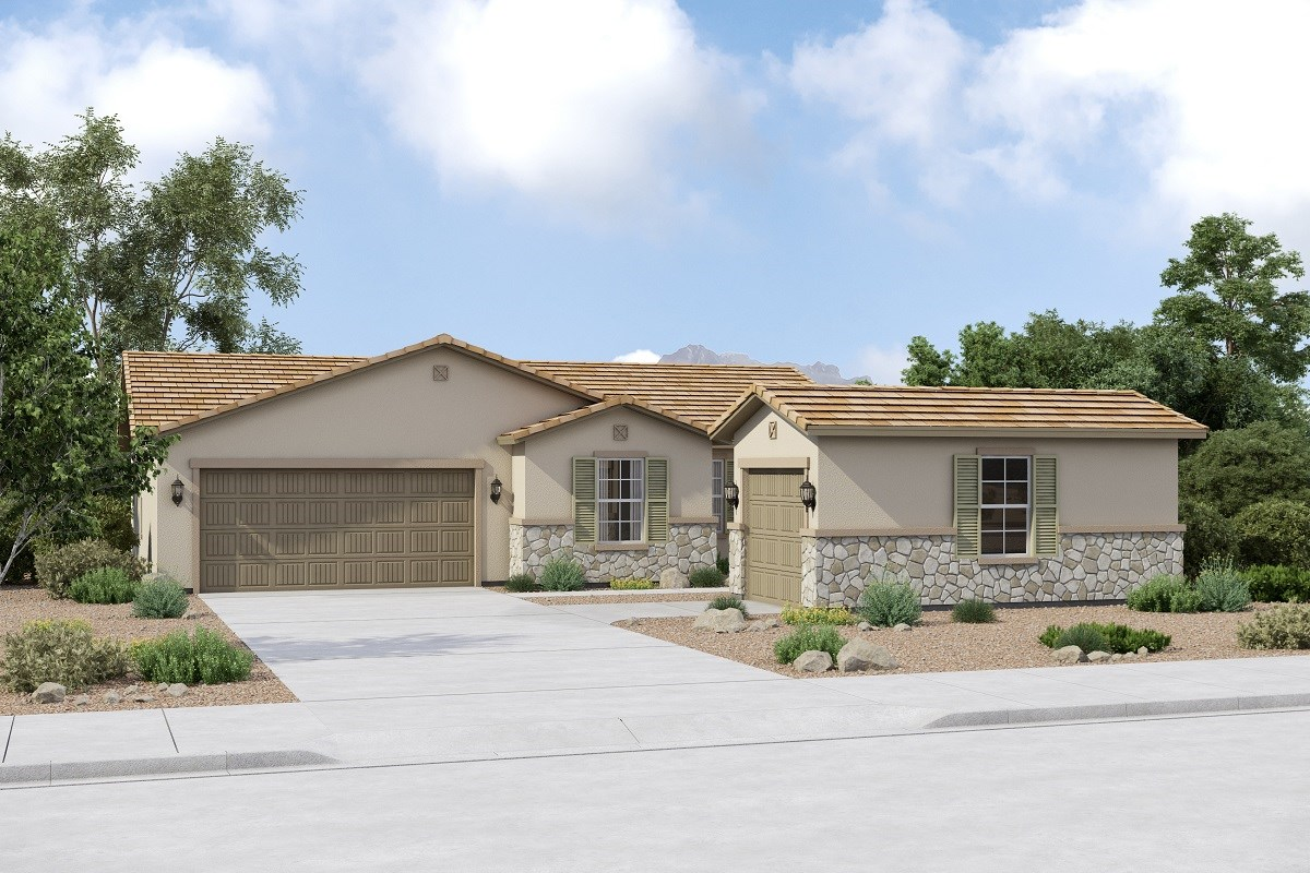 New Homes in Buckeye, AZ - Arroyo Seco Plan 1708 Elevation C (Option 3rd car garage)