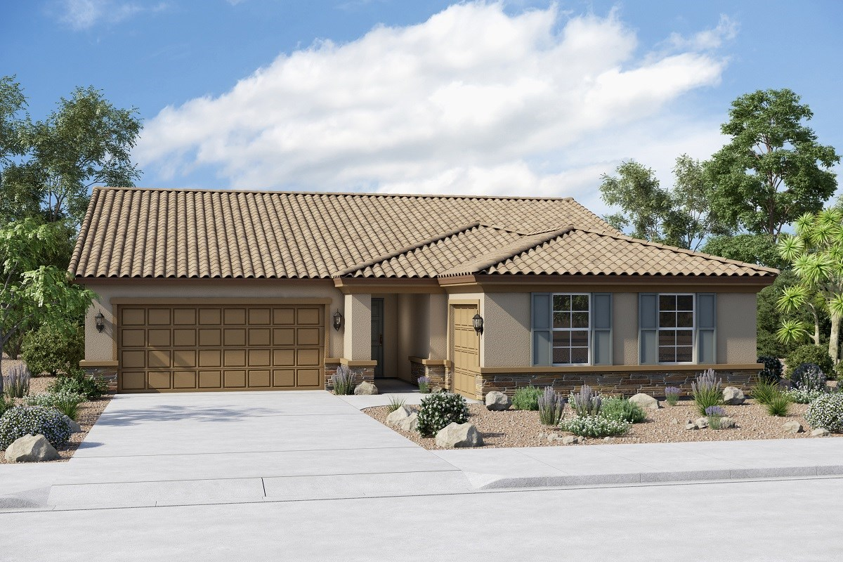New Homes in Buckeye, AZ - Arroyo Seco Plan 2096 Elevation B (Option 3rd car garage with stone)