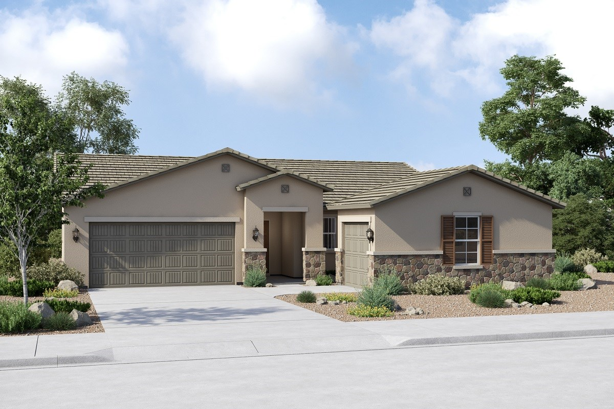 New Homes in Buckeye, AZ - Arroyo Seco Plan 1860 Elevation C (Option 3rd car garage)