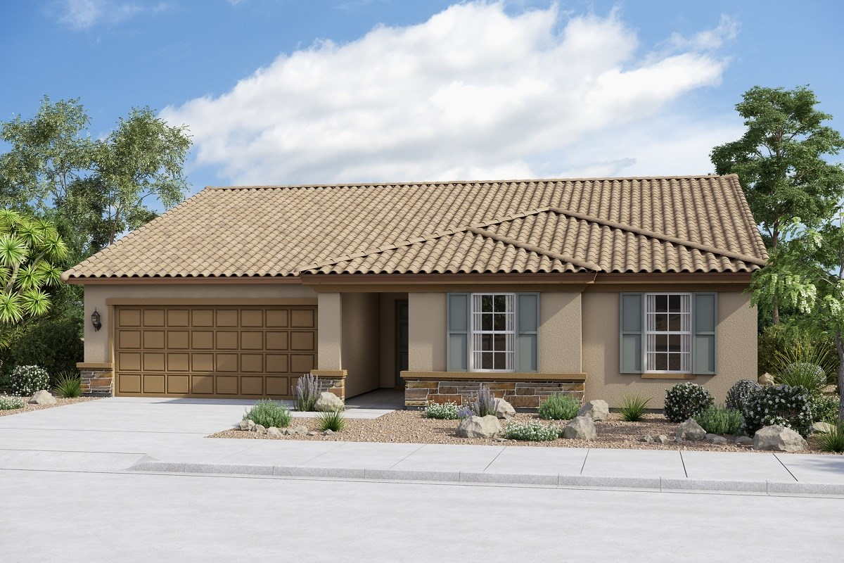New Homes in Buckeye, AZ - Arroyo Seco Plan 2096 Elevation B (Option with stone)