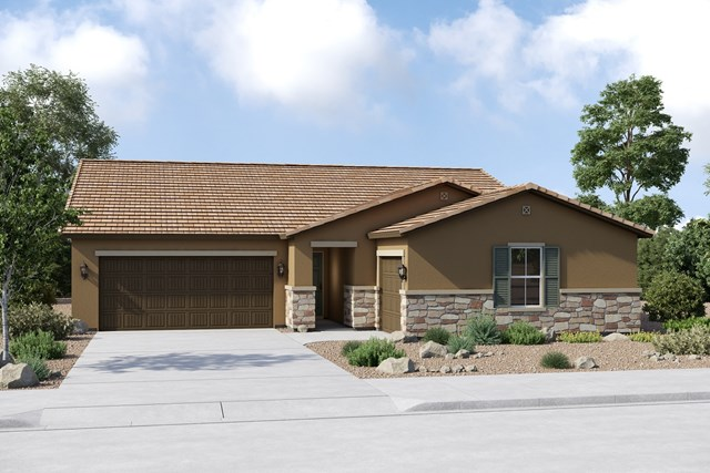 New Homes in Buckeye, AZ - Plan 2096 Elevation C (Option 3rd car garage)