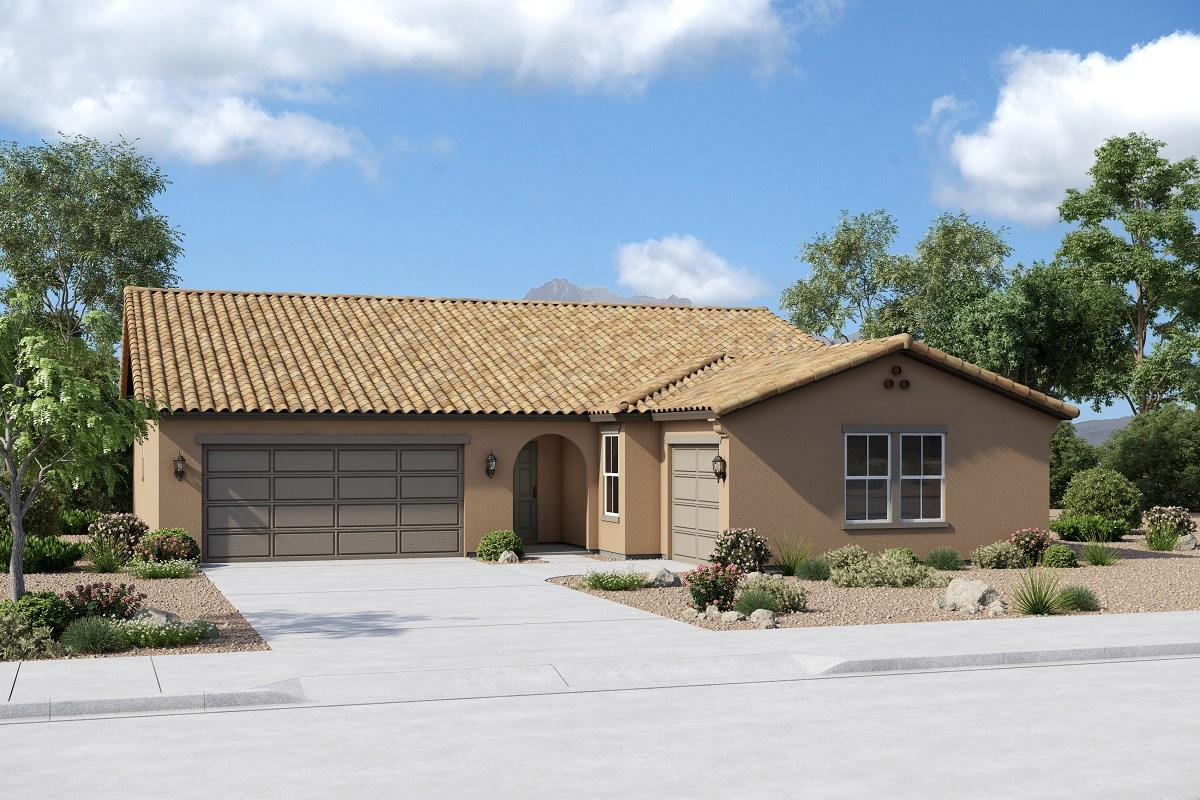 New Homes in Buckeye, AZ - Arroyo Seco Plan 2301 Elevation A (Option 3rd car garage)