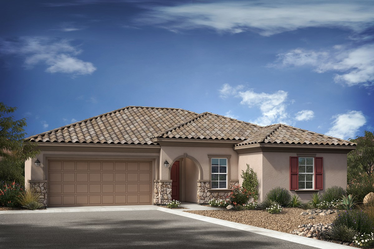 New Homes in Gilbert, AZ - Cobblestone Villas Plan 1711 Elevation B (With Optional Stone)