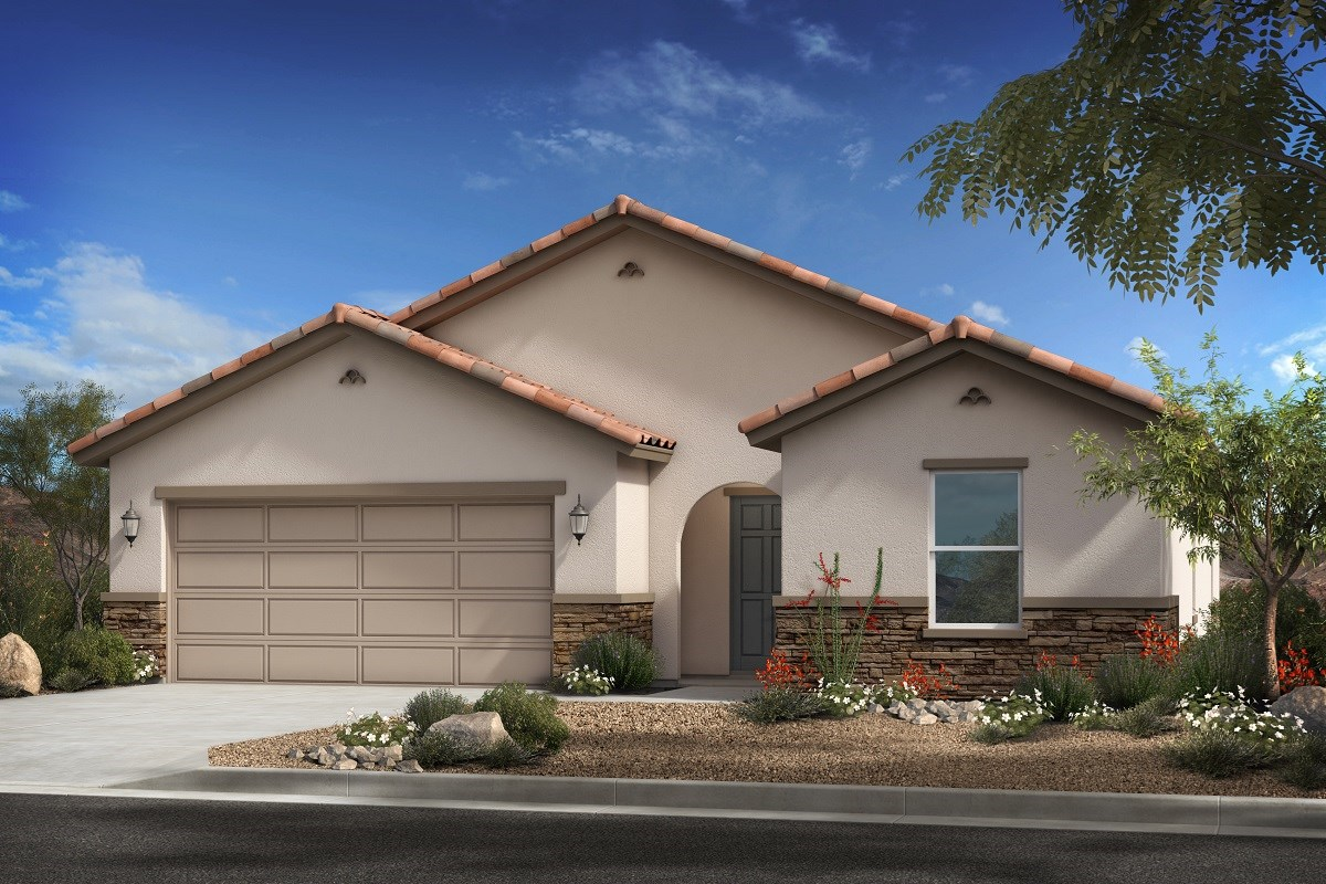 New Homes in Surprise, AZ - Cortana at Desert Oasis Plan 1621 Elevation A (with stone)