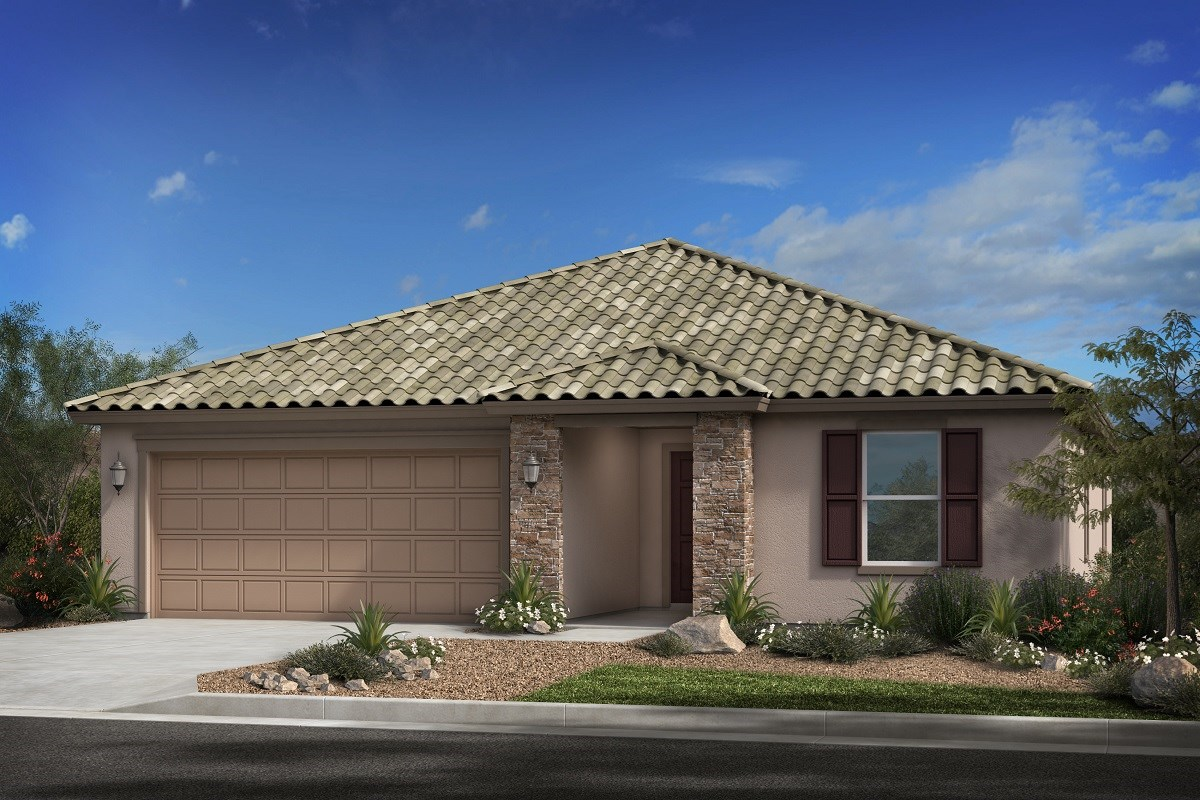 New Homes in Surprise, AZ - Cortana at Desert Oasis Plan 2188 Elevation B (with stone)