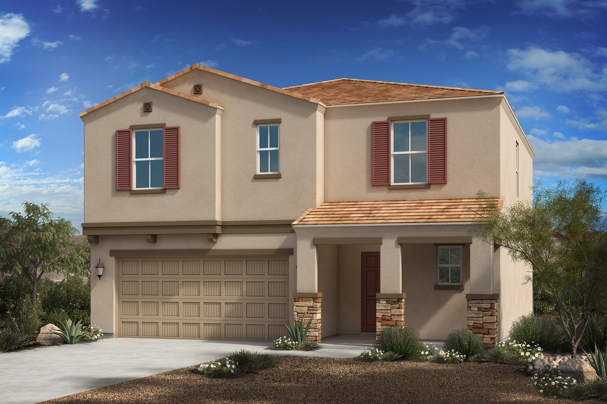 New Homes in Florence, AZ - Crestfield Manor Plan 2030 Elevation C (with Stone)