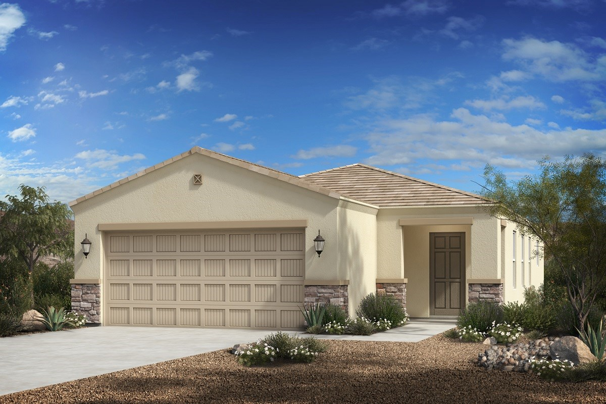 New Homes in Florence, AZ - Crestfield Manor Plan 1238 Elevation C (with Stone)