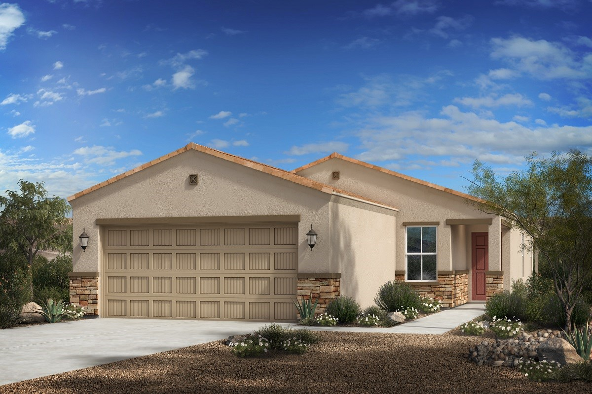 New Homes in Florence, AZ - Crestfield Manor Plan 1465 Elevation C (with Stone)