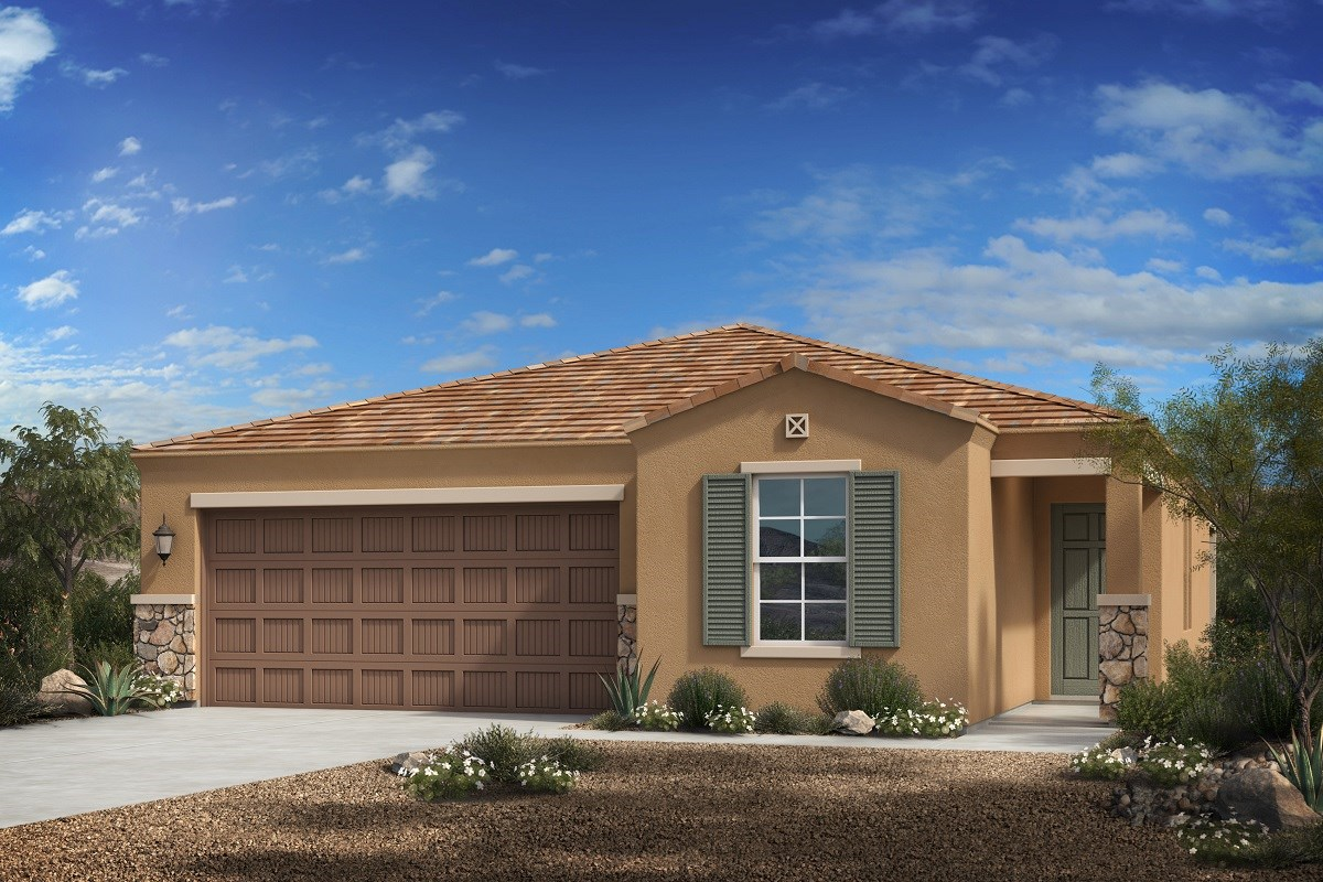 New Homes in Florence, AZ - Crestfield Manor Plan 1547 Elevation C (with Stone)