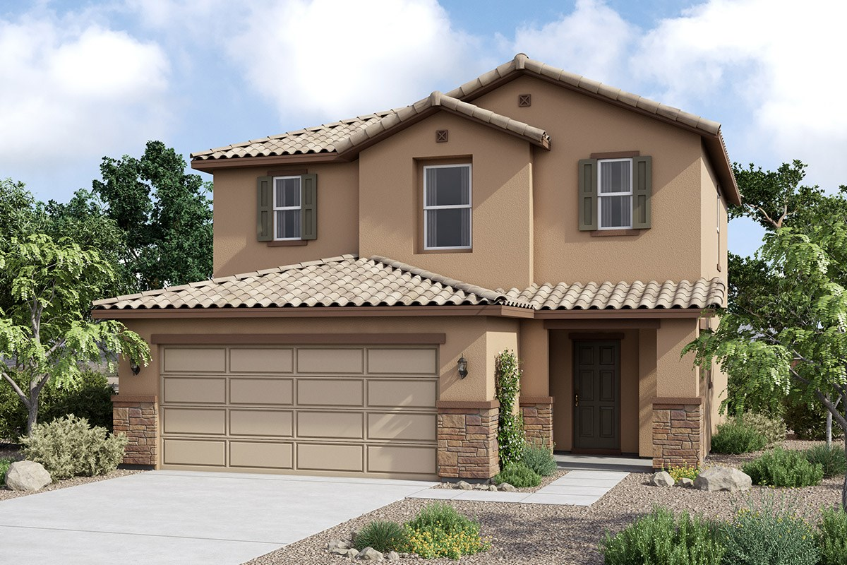 New Homes in Maricopa, AZ - Juniper at Desert Passage Plan 1431 Elevation C (With Stone)