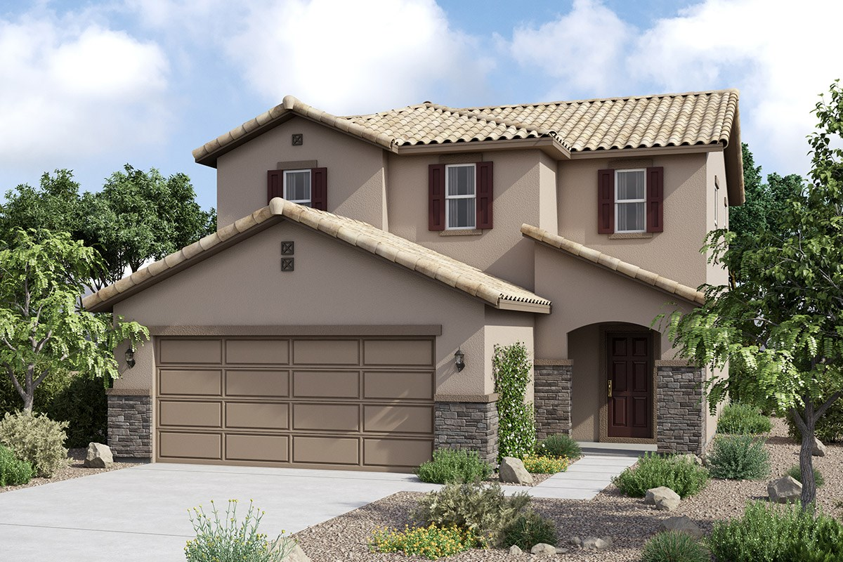 New Homes in Maricopa, AZ - Juniper at Desert Passage Plan 1573 Elevation C (With Stone)