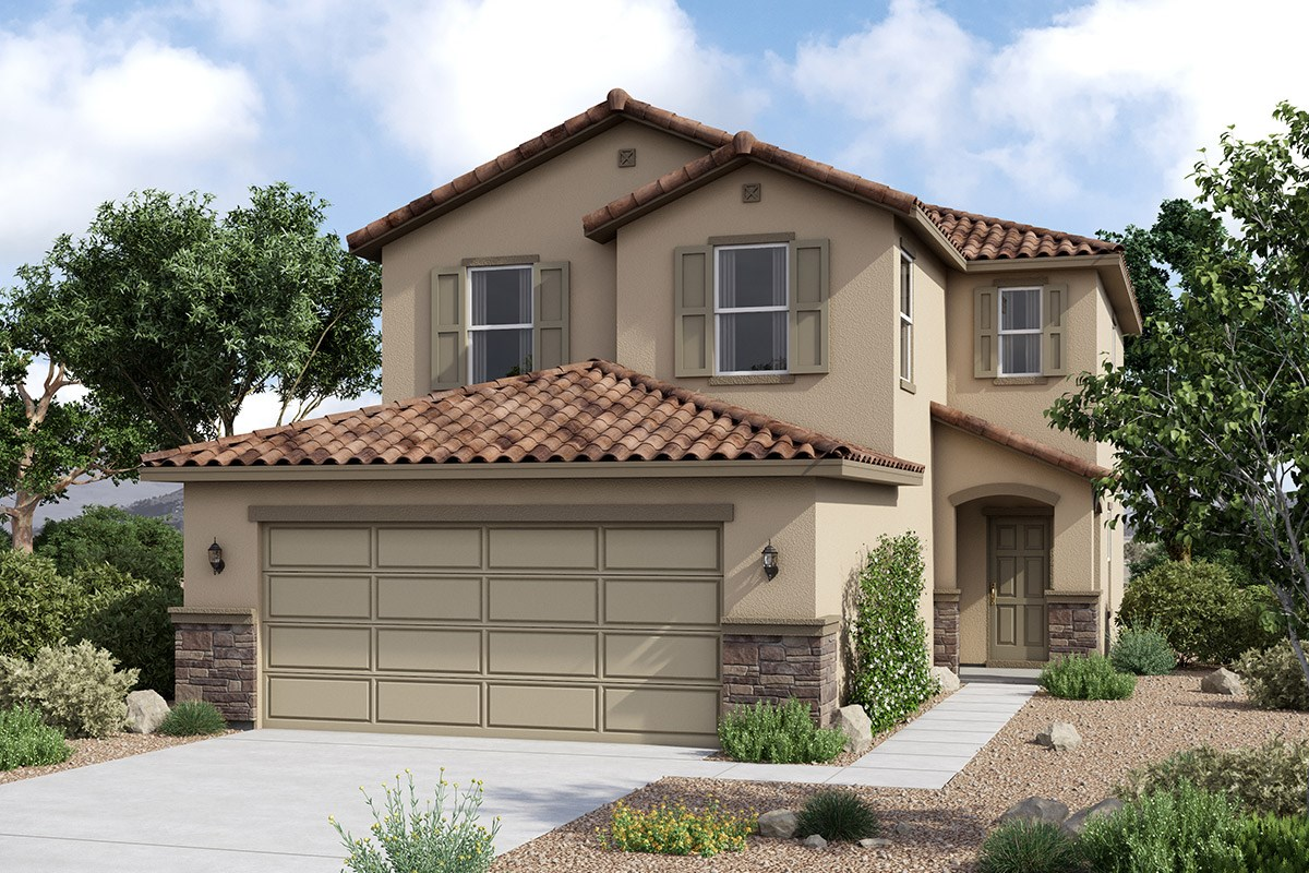 New Homes in Maricopa, AZ - Juniper at Desert Passage Plan 1852 Elevation C (With Stone)
