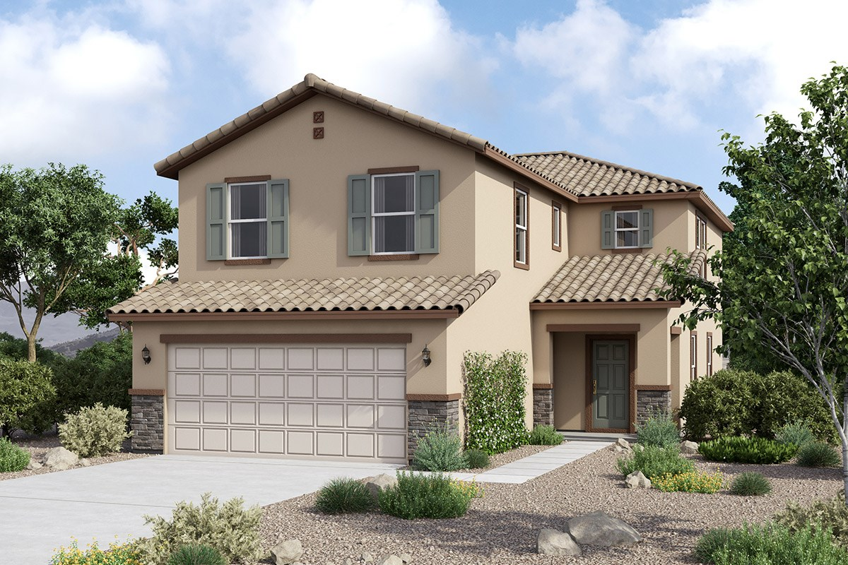 New Homes in Maricopa, AZ - Juniper at Desert Passage Plan 2151 Elevation C (With Stone)