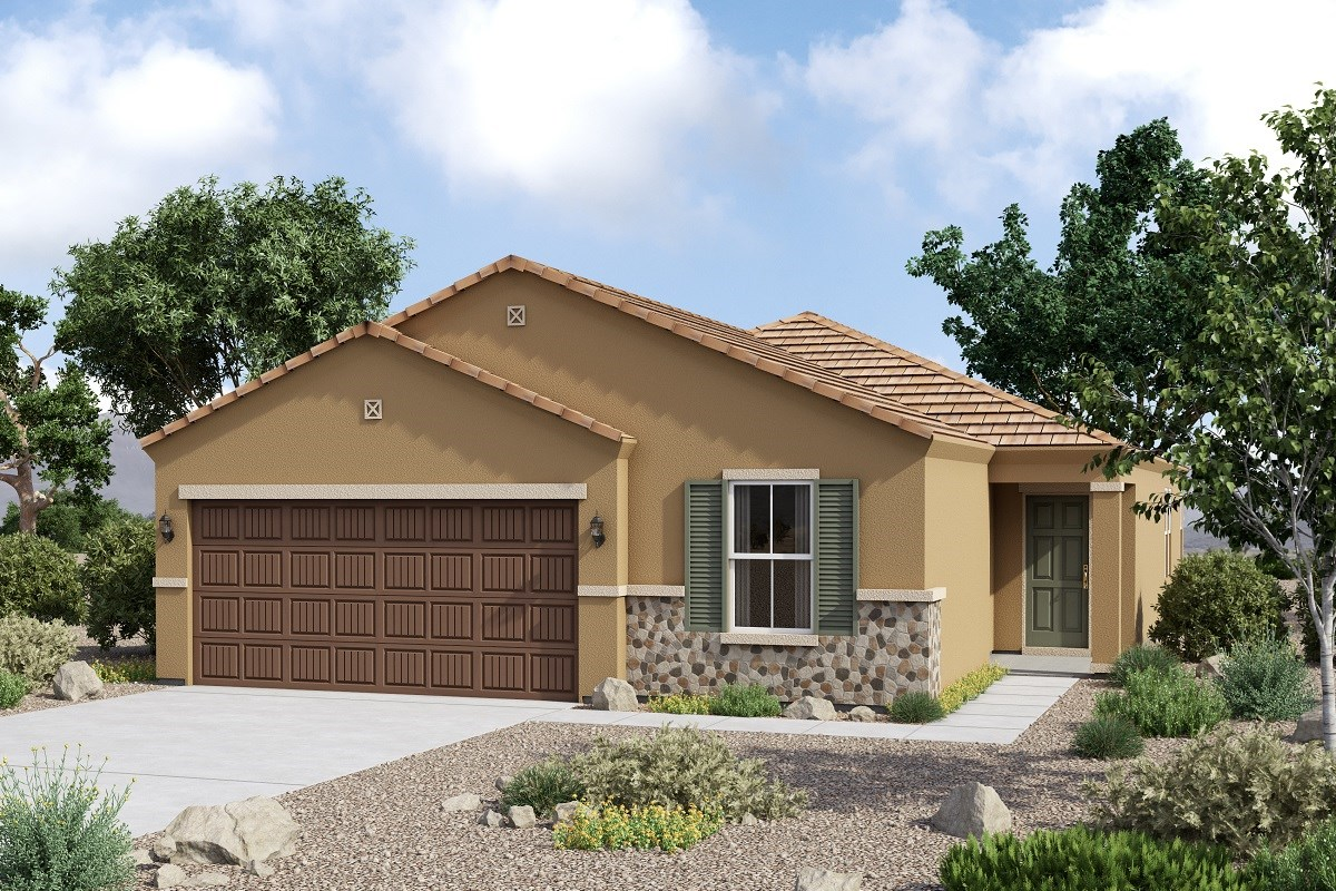New Homes in Glendale, AZ - Marbella Ranch Plan 1908 Elevation C (With Stone)