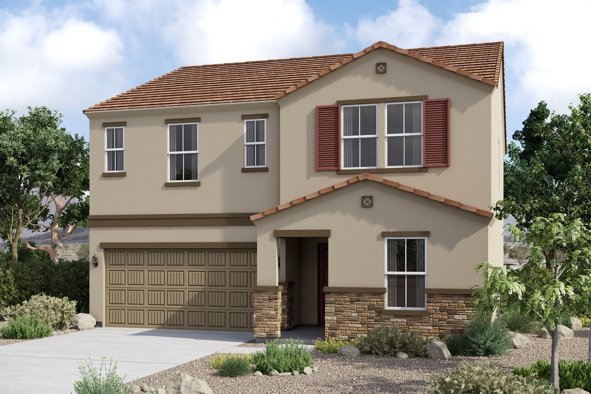 New Homes in Glendale, AZ - Marbella Ranch Plan 2419 Elevation C (With Stone)
