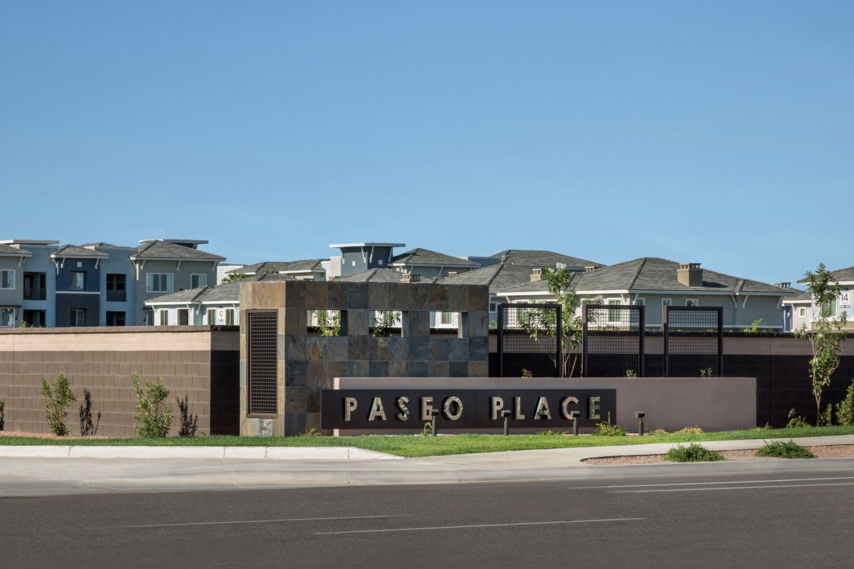 New Homes in Chandler, AZ - The Villas at Paseo Place Entry Monument