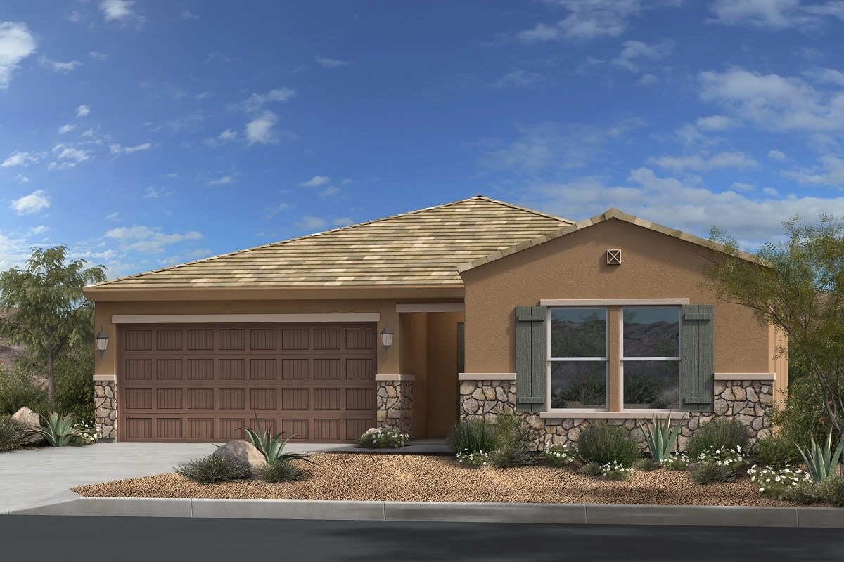 New Homes in Gold Canyon, AZ - Peralta Canyon Plan 1790 Elevation C with Stone