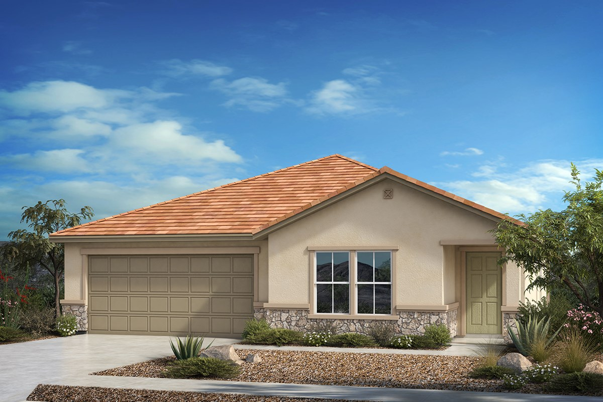 New Homes in Tucson, AZ - Hardy Preserve Plan 2413 Elevation C (with optional stone)