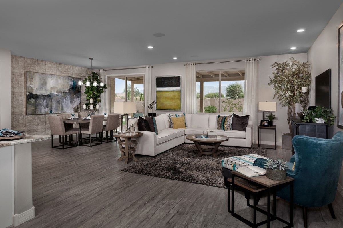 New Homes in Tucson , AZ - Estrella Estates 2013 Great Room as modeled at Hardy Preserve