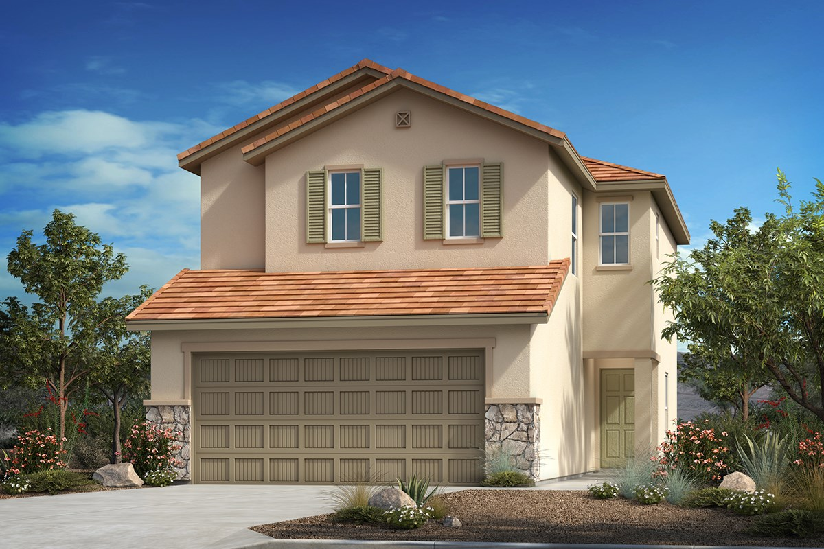 New Homes in Tucson, AZ - La Cholla Station  Plan 1512 Elevation C (with optional stone)