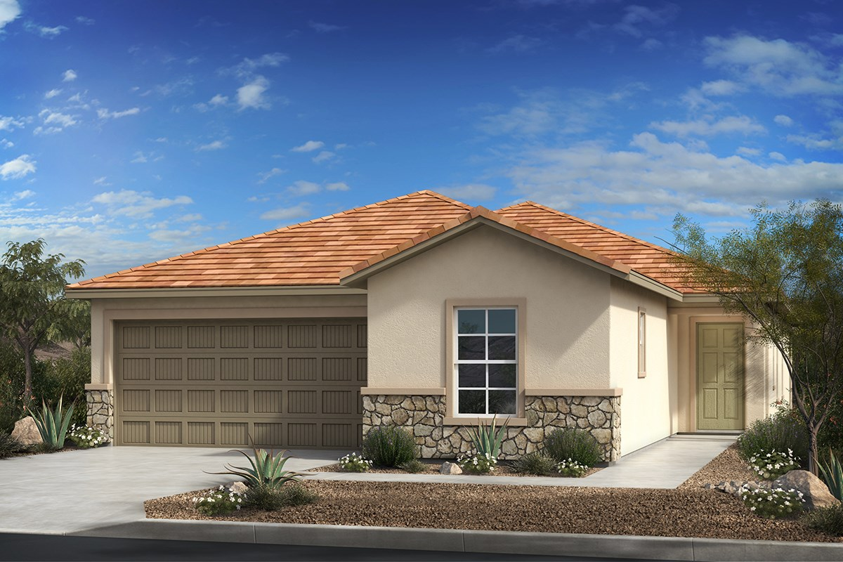 New Homes in Tucson, AZ - Montaretto Estates Plan 1861 Elevation C (with optional stone)
