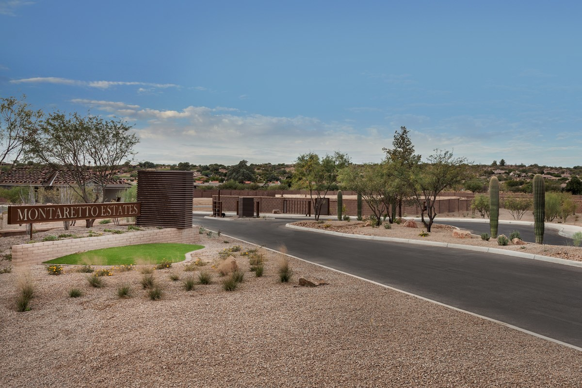 New Homes in Tucson, AZ - Montaretto Estates Entry Monument and Gate