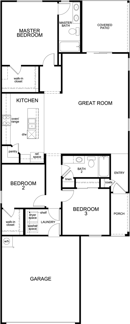 Plan 1465 new home floor plan in oakmore reserve by kb home for Tucson home builders floor plans