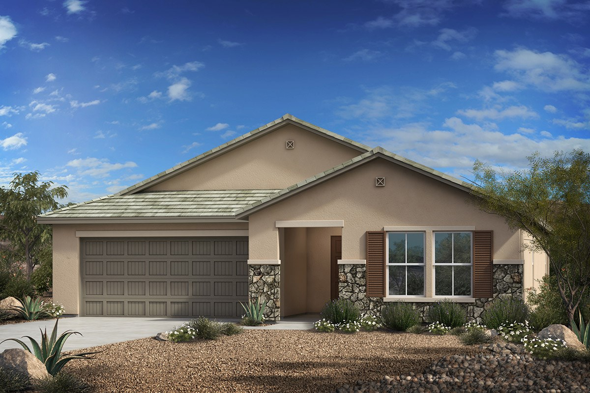 New Homes in Vail, AZ - Estates at Rancho Del Lago  Plan 1576 Elevation C (With Optional Stone)