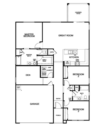 New Homes in Vail, AZ - Plan 1708 Modeled, First Floor