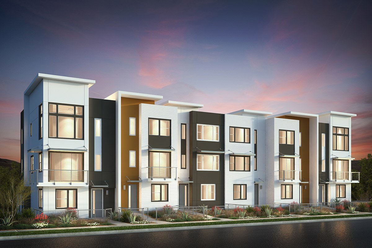 New Homes in San Jose, CA - Catalyst at Communications Hill Contemporary 'A': 6Plex