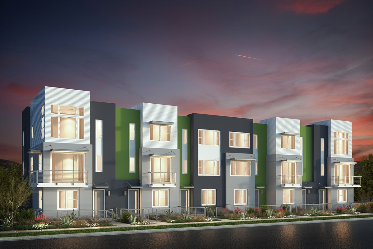 New Homes in San Jose, CA - Catalyst at Communications Hill Contemporary 'B': 6Plex