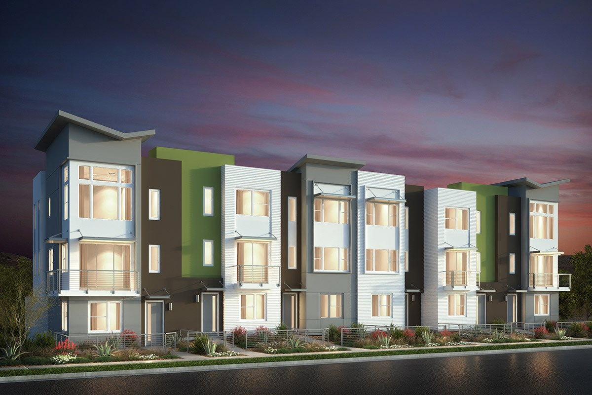 New Homes in San Jose, CA - Catalyst at Communications Hill Contemporary 'C': 6Plex