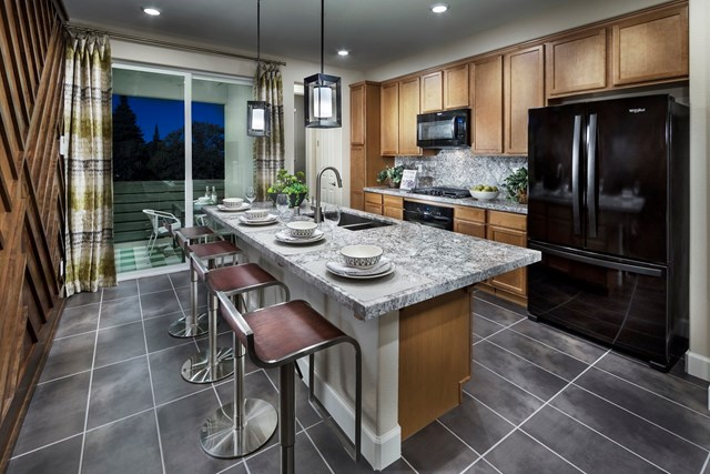 KB model home kitchen in Milpitas, CA