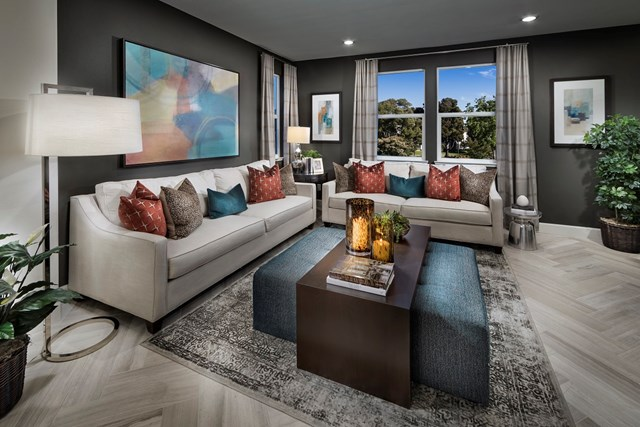 KB model home living room in Milpitas, CA