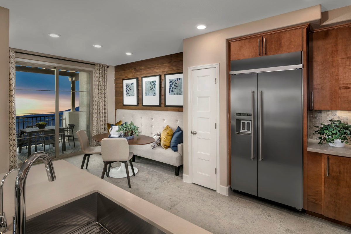 New Homes in San Jose, CA - Metro at Communications Hill Plan 2 Kitchen, Dining Room and Deck