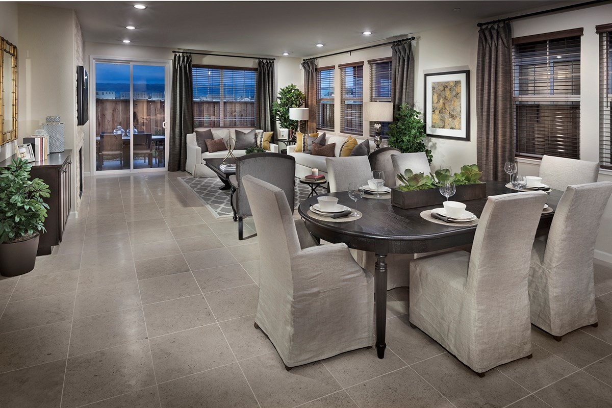 New Homes in Fremont, CA - Magnolia at Patterson Ranch Plan 2 Dining Room and Family Room