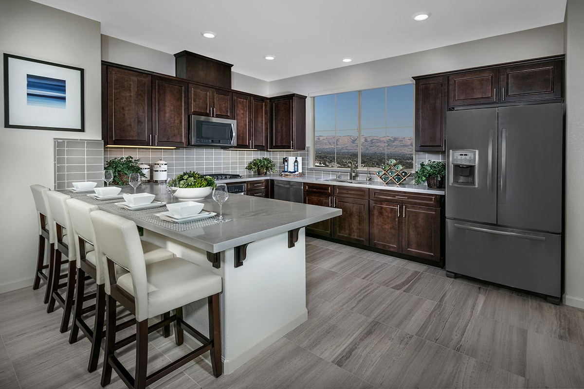 New Homes in San Jose, CA - Promenade II at Communications Hill Plan 2 Kitchen