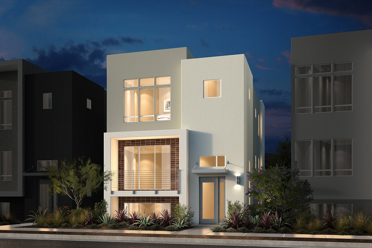 New Homes in San Jose, CA - Promenade II at Communications Hill Plan 1 Contemporary B Mid Level Entry