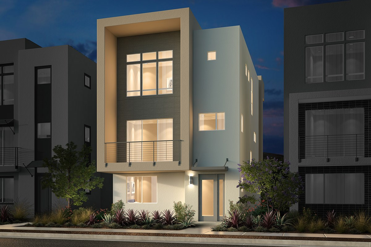 New Homes in San Jose, CA - Promenade II at Communications Hill Plan 3 Contemporary B Ground Level Entry