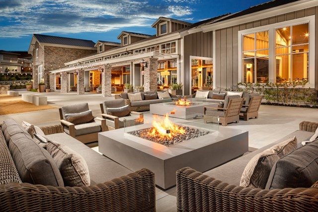 Amenity center seating and fire pit at a KB Home community in Dublin, CA